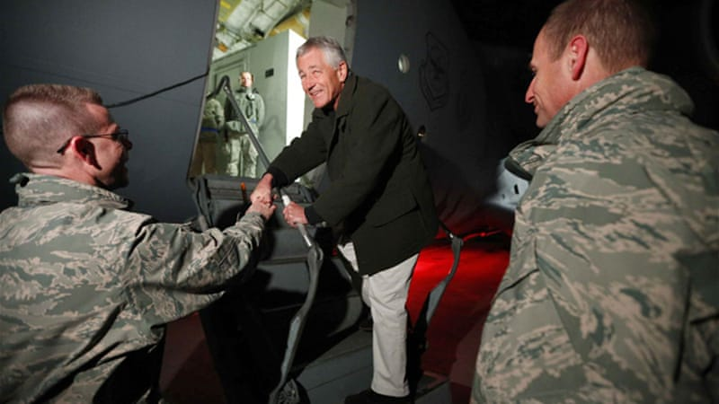 Two US soldiers were killed in an insider attack as Chuck Hagel ended his first official visit to country [Reuters]