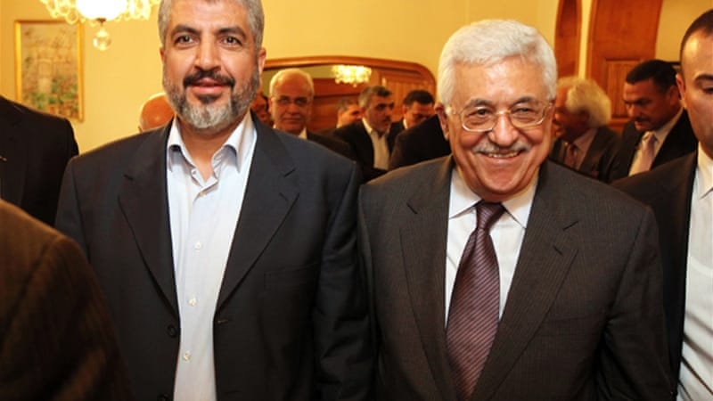 Meshaal, left, pushed for reconciliation with Abbas' Fatah but was blocked by hardliners on both sides [GALLO/GETTY]