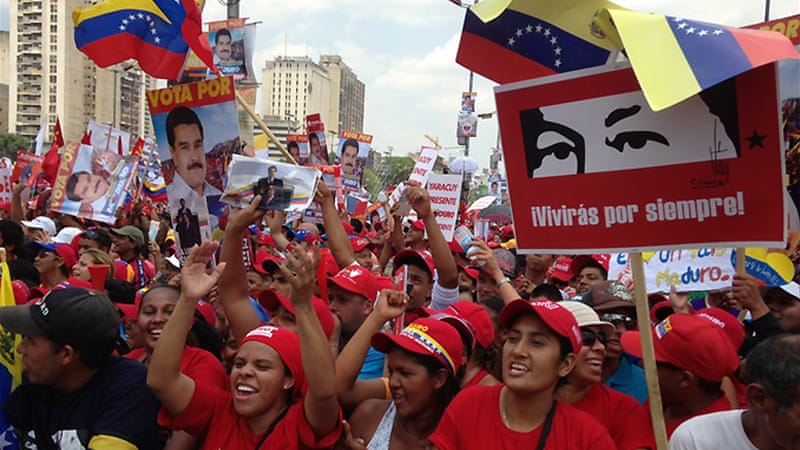 Nicolas Maduro is the favourite candidate for the election [Gabriel Elizondo]