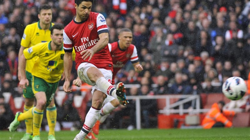 Norwich looked to have set up a shock victory at the Emirates before Mikel Arteta, above, levelled from the penalty spot, closely followed by goals by Oliver Giroud and Lukas Podolski [Reuters]