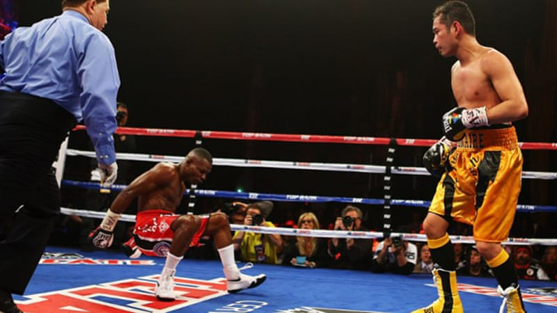 Two-time Olympic gold medal winner Rigondeaux, left, recovered from an earlier knockdown to win the 12-round bout [AFP]