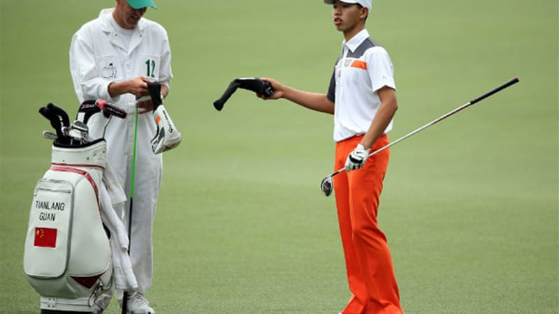 The 14-year-old Asia-Pacific Amateur champion enjoyed his first major championship debut in which he suffered no three-putts and nothing worse than a bogey on his scorecards [AFP]