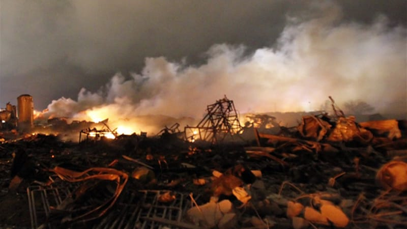 West Fertiliser Co plant blew up on the night of April 17 after fire erupted at the facility [Reuters]