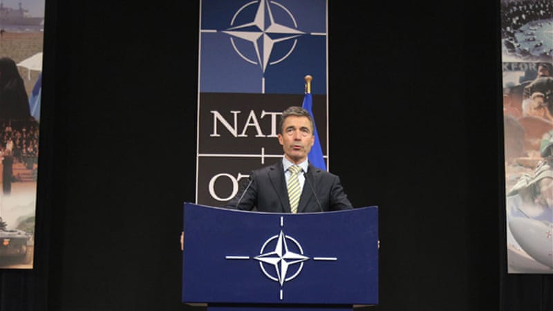 Anders Fogh Rasmussen, secretary-general of NATO, expressed concern over the Syrian crisis spilling over borders [AP]