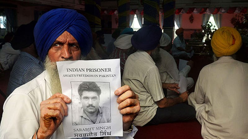 Members of the Indian Sikh community attended on Sunday a special prayer for the health Sarabjit Singh [AFP]