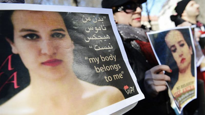 Tunisian Amina Tyler is at centre of Femen's protest and campaign by a group of Muslims on women's rights [AFP]