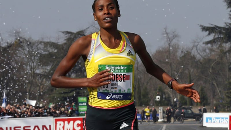 Boru Tadese set a new women's course record of 2:21:05 to beat the existing mark by more than 30 seconds [Reuters]