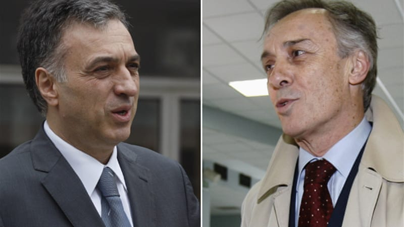 The election pits incumbent Filip Vujanovic, left, against opposition candidate Miodrag Lekic [Reuters]