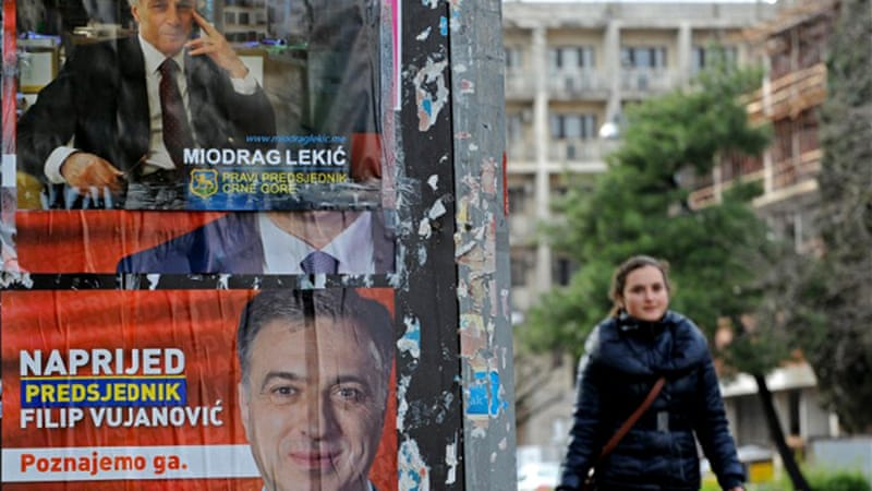 "Opposition Democratic Front compared incumbent Filip Vujanovic's victory claim to a ""coup d'etat"" [AFP]"