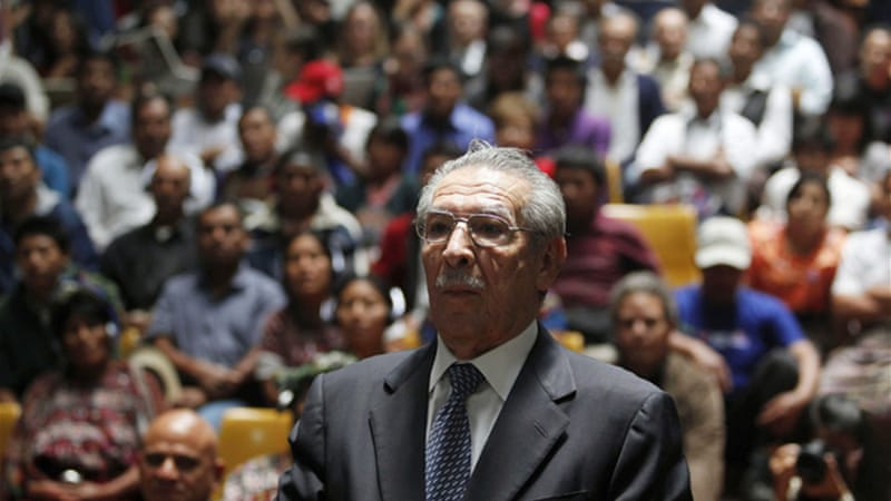 Rios Montt, testifying for the first time at his genocide trial, said he 'never ordered attacks on a specific race' [Reuters]