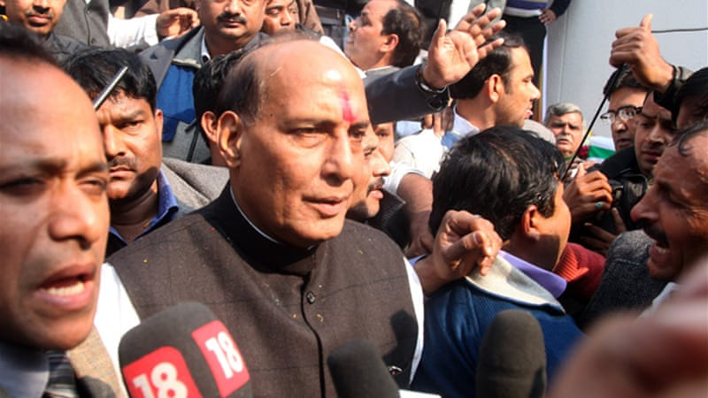 Rajnath Singh, president of Bharatiya Janata Party, says government facing serious corruption allegations [EPA]