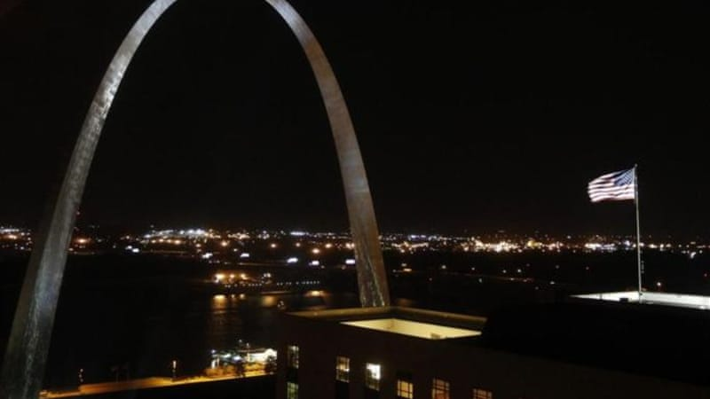 "The symbol of St Louis is both a gateway and a memorial the Arch ""mirrors the sky and shadows the city"" [Reuters]"