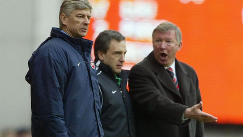 Old foes: Wenger and Ferguson endured a particularly stormy relationship during the late 1990s and early 2000s when their clubs were contesting the English Premier League [GALLO/GETTY]
