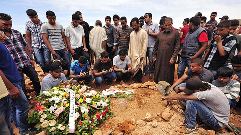 Funerals and prayers were held for the victims attended by dozens of Benghazi residents [Reuters]