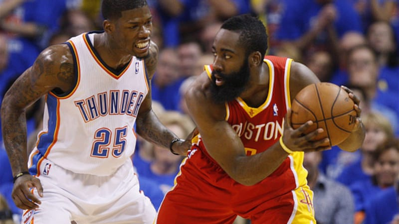 In Oklahoma City James Harden scored 31 points to lead Houston to a thrilling win to cut Thunder's lead to 3-2 in the Western Conference series [Reuters]