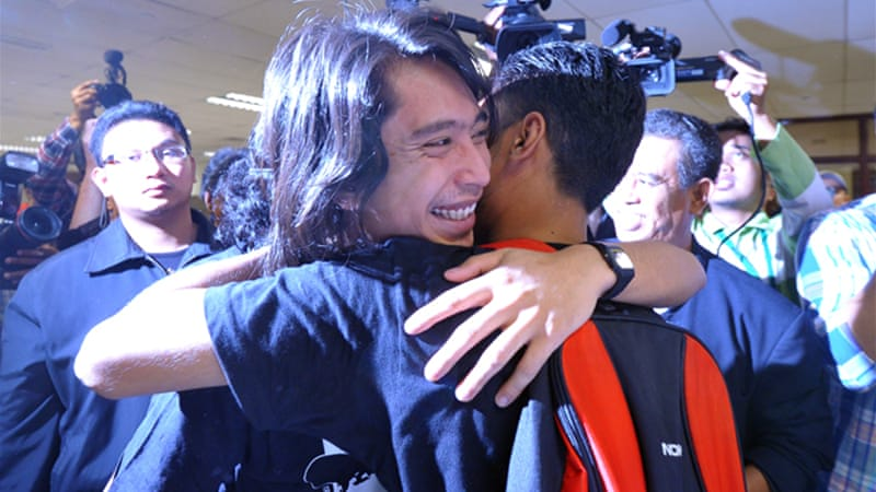 Student activist Adam Adli Abdul Halim was released on bail after a five-day detention [EPA]