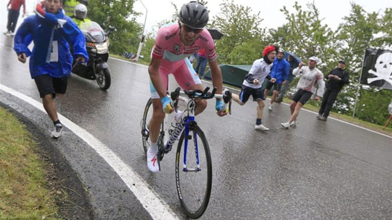 It was the first stage victory for the Italian Nibali in this year's race, extending his lead over Cadel Evans to 4:02 with three stages remaining [AFP]