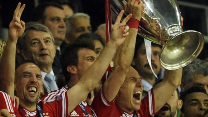 Robben holds Champions League trophy after leading team to 2-1 victory and towards the treble [EPA]