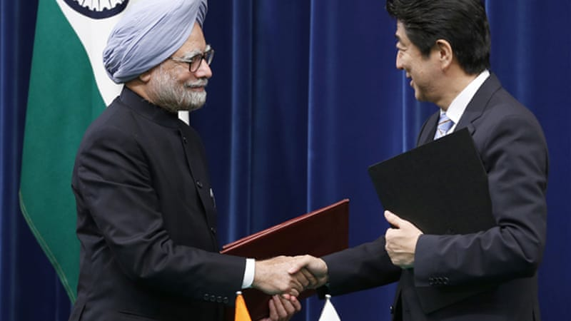 Singh, left, pictured with Japanese counterpart Abe, said Japan was an 'indispensable partner' [EPA]
