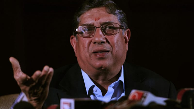BCCI president Narainswamy Srinivasan, pictured above, is under fire to quit after revelations his son-in-law Gurunath Meiyappan was involved in the betting scams [AFP]