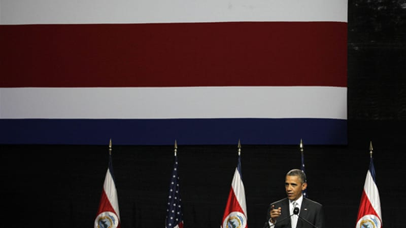 Obama made his comments during a press conference with his Costa Rican counterpart [Reuters]