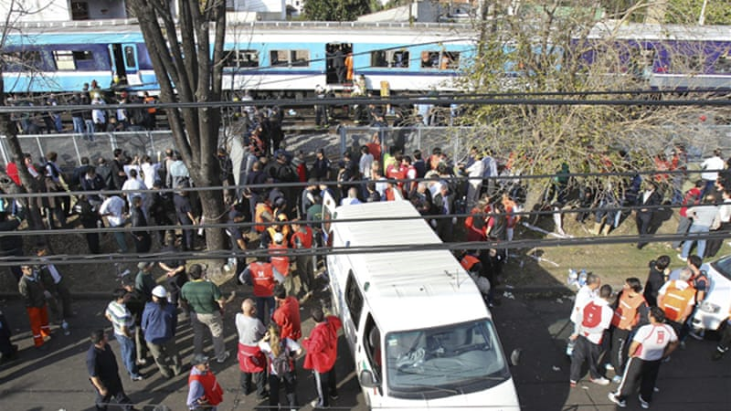 Argentina's train union has said that the crashed two-level train had just returned after being out of service [EPA]