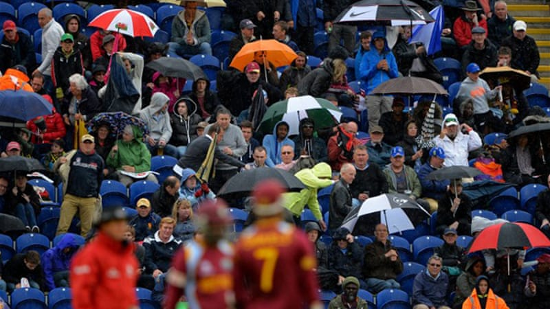 The match finished as a tie on the Duckworth/Lewis method when rain finally ended play in Cardiff [AFP]