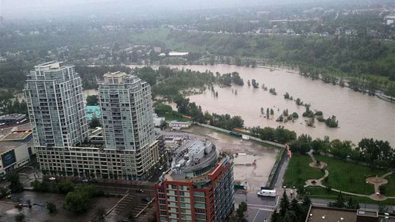 Floods force the evacuation of around 100,000 people in the western city of Calgary [AFP]