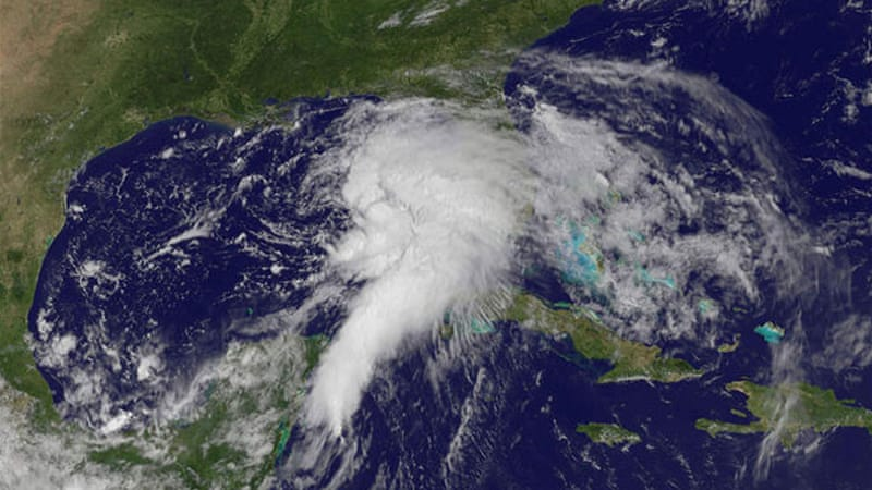 A satellite image shows thunderstorm activity developing in the Gulf of Mexico [AP]