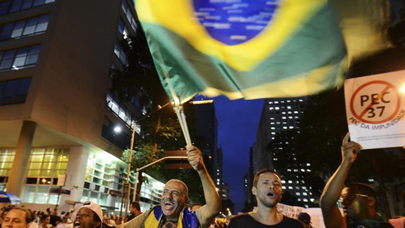 Protesters in Sao Paulo do not appear appeased by Rousseff's $23bn new spending proposal [Reuters]