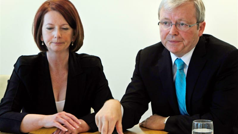 Kevin Rudd (right) became prime minister in June, when Julia Gillard (left) was deposed in a party coup [EPA]