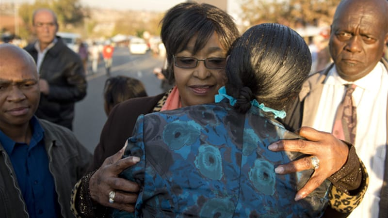 Winnie Madikizela-Mandela spoke outside the couple's former Soweto home [AFP]