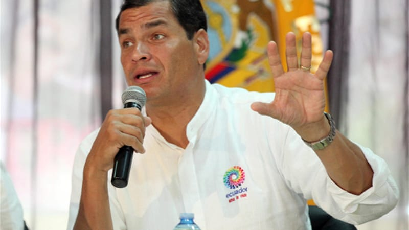 President Rafael Correa promised to respect Washington's opinion in evaluating Snowden's asylum request [EPA]