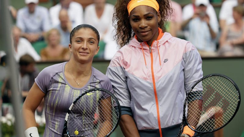 Outgunned and outclassed – It was 37 minutes before Errani, pictured left, managed to take a game against the American [AFP]