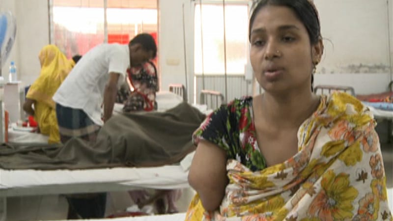 Garment workers who survived deadly tragedy with lifelong injuries fear they will never work again. [Al Jazeera]