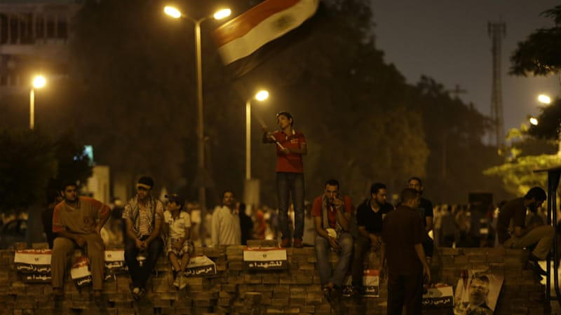 Supporters of ousted president Morsi protested into the early hours [AP]