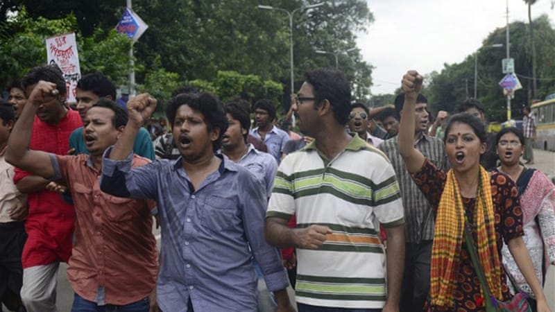 Bangladeshi social activists took part in a nationwide strike over the conviction and sentencing of Azam  [AFP]