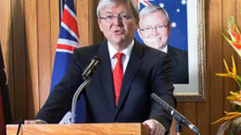 Kevin Rudd has said that anyone seeking asylum who arrives by boat will not be resettled in Australia [AFP]