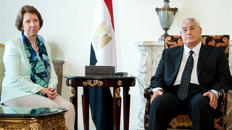 Ashton met interim president Adly Mansour, on a visit to Cairo [EU delegation]