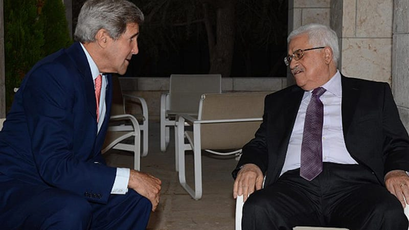 US Secretary of State John Kerry and Palestinian President Mahmoud Abbas held meetings on Tuesday [AFP]