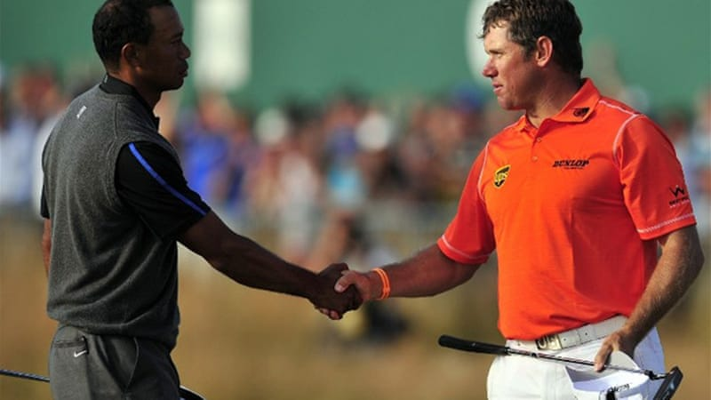 England's Lee Westwood world number one Tiger Woods were paired during the third round [AFP]
