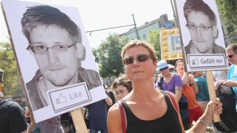 Protesters showed support for Snowden, who revealed NSA's secret surveillance programme [GALLO/GETTY]