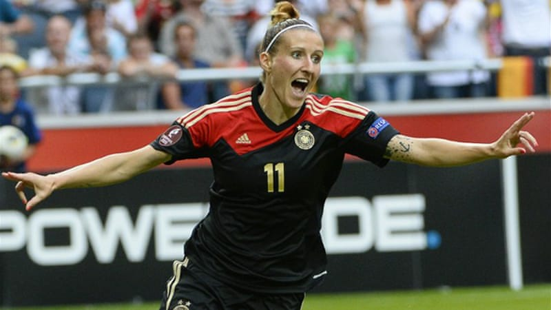 Substitute Anja Mittag scored in the 49th minute to put the defending champions ahead [AFP]