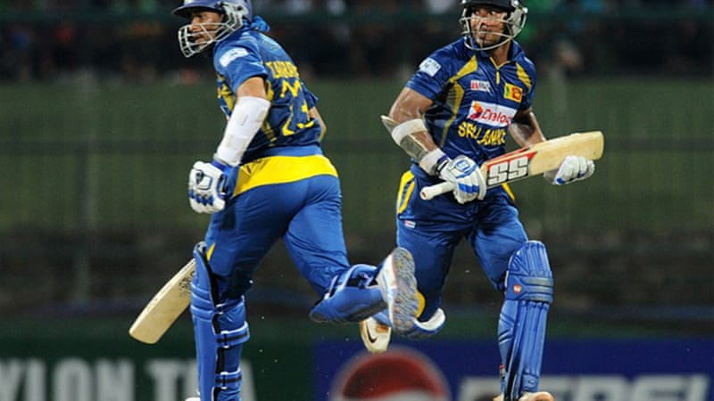 Dilshan scored an unbeaten 115 and added 184 runs for the second wicket with Kumar Sangakkara [AFP]