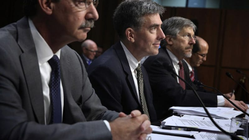 "NSA deputy director John Inglis, centre, told the Senate Judiciary Committee: ""No one has offered to resign"" [AFP]"