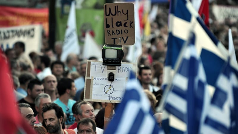 Most Greeks have opposed the government's move to shut down the national broadcaster, ERT [AFP]