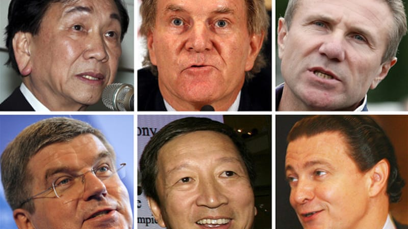 The candidates: (clockwise from left) Wu Ching-kuo, Denis Oswald, Sergey Bubka, Thomas Bach, Ng Ser Miang and Richard L. Carrion [EPA]
