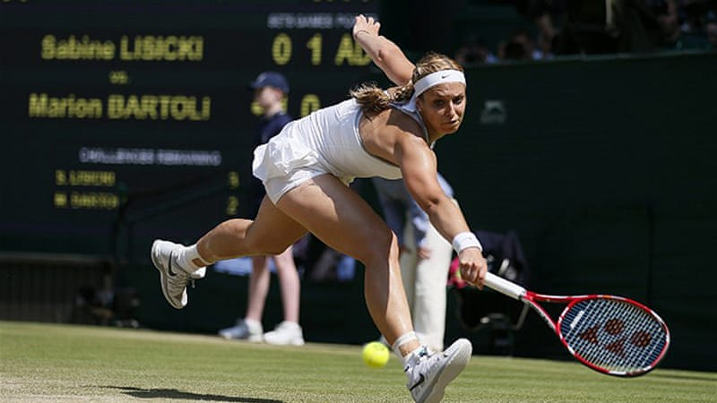 The 23rd seed Sabine Lisicki's booming serve never functioned smoothly [AFP]