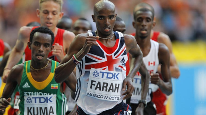 Farah let the Kenyans and Ethiopians set the pace before making his move on the penultimate lap [EPA]