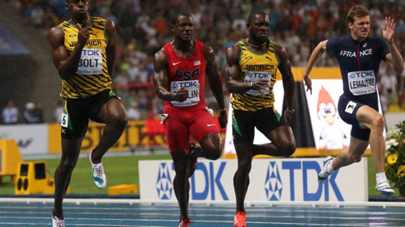 Disqualified from the 2011 final for false-starting, Bolt made no mistake out of the blocks this time [AFP]